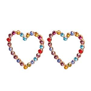 *MAVI* Multicolor Gem Heart Shape Fashion Earrings